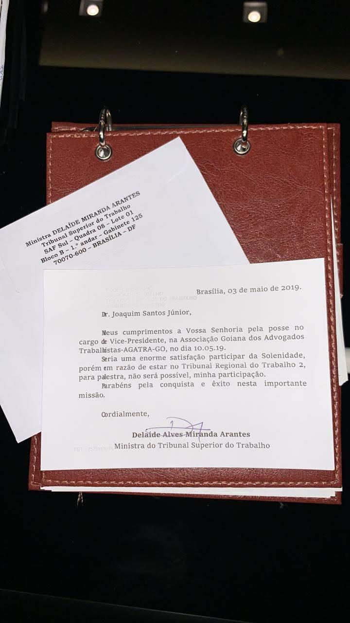 Carta Ministra Dra. Delaíde Miranda Arantes